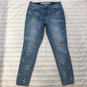 HYDRAULIC Skinny Pearl & Rhinestone Jeans Size 10